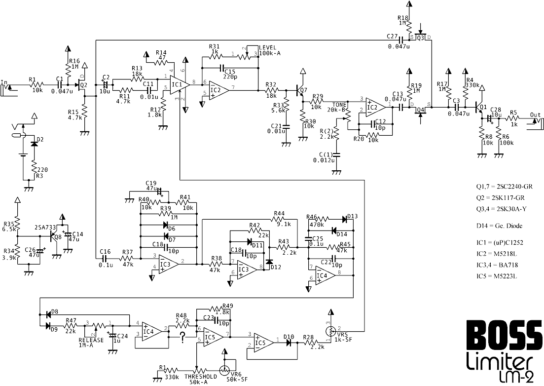 boss cs 2 schematic  | freestompboxes.org